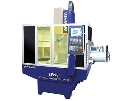 One of three machines offered as part of Optomec's new Machine Tool series, the LENS 3D Metal Hybrid VMC Inert System provides an atmosphere-controlled environment to extend hybrid manufacturing capabilities for reactive metals and aluminum.